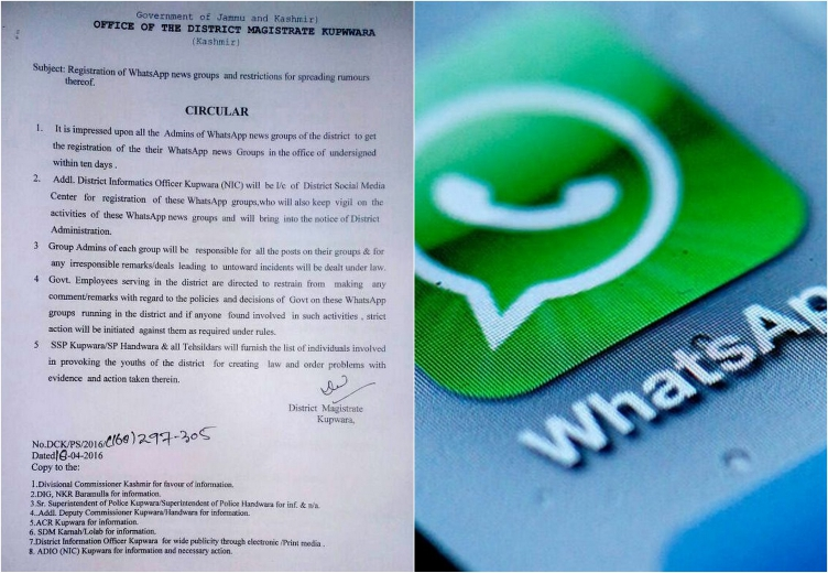 People in Jammu and Kashmir need a license to be the admin of a WhatsApp group